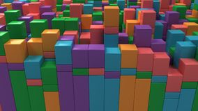 Wall of blue, green, orange and purple cubes. Abstract colorful 3d background. 3D render illustration Stock Images