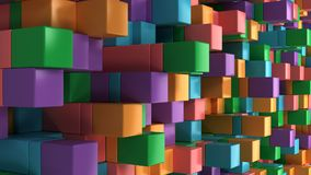 Wall of blue, green, orange and purple cubes. Abstract colorful 3d background. 3D render illustration Stock Image