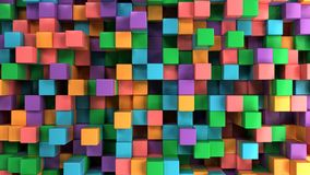 Wall of blue, green, orange and purple cubes. Abstract colorful 3d background. 3D render illustration Stock Photos