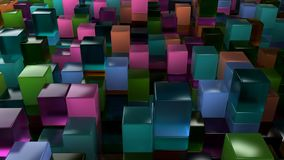 Wall of blue, green, orange and purple glass cubes. Abstract colorful 3d background. 3D render illustration Stock Image
