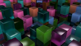 Wall of blue, green, orange and purple glass cubes. Abstract colorful 3d background. 3D render illustration Stock Photography