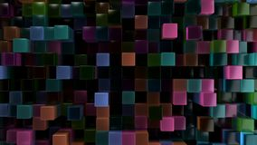 Wall of blue, green, orange and purple glass cubes. Abstract colorful 3d background. 3D render illustration Royalty Free Stock Image