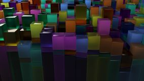 Wall of blue, green, orange and purple glass cubes. Abstract colorful 3d background. 3D render illustration Stock Photo