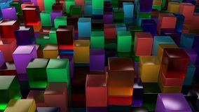 Wall of blue, green, orange and purple glass cubes. Abstract colorful 3d background. 3D render illustration Royalty Free Stock Photography