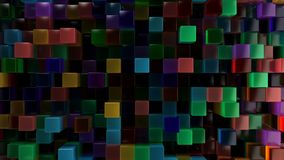 Wall of blue, green, orange and purple glass cubes. Abstract colorful 3d background. 3D render illustration Royalty Free Stock Images