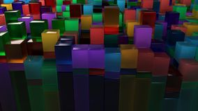 Wall of blue, green, orange and purple glass cubes. Abstract colorful 3d background. 3D render illustration Stock Images