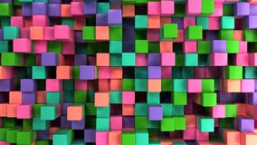 Wall of blue, green, pink and purple cubes. Abstract colorful 3d background. 3D render illustration Royalty Free Stock Photos