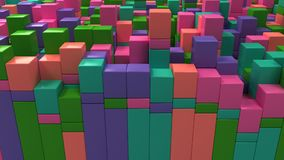 Wall of blue, green, pink and purple cubes. Abstract colorful 3d background. 3D render illustration Royalty Free Stock Images