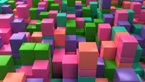 Wall of blue, green, pink and purple cubes. Abstract colorful 3d background. 3D render illustration Stock Image