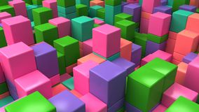 Wall of blue, green, pink and purple cubes. Abstract colorful 3d background. 3D render illustration Stock Images