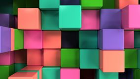 Wall of blue, green, pink and purple cubes. Abstract colorful 3d background. 3D render illustration Royalty Free Stock Photo