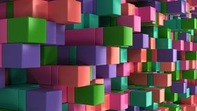 Wall of blue, green, pink and purple cubes. Abstract colorful 3d background. 3D render illustration Royalty Free Stock Photography