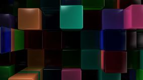 Wall of blue, green, pink and purple glass cubes. Abstract colorful 3d background. 3D render illustration Stock Image