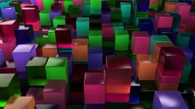 Wall of blue, green, pink and purple glass cubes. Abstract colorful 3d background. 3D render illustration Royalty Free Stock Photo