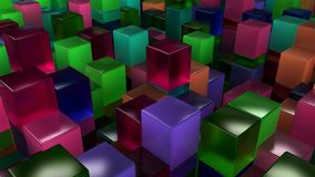 Wall of blue, green, pink and purple glass cubes. Abstract colorful 3d background. 3D render illustration Royalty Free Stock Photos