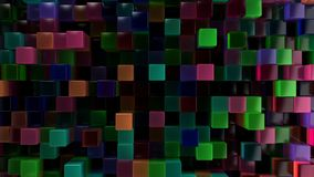 Wall of blue, green, pink and purple glass cubes. Abstract colorful 3d background. 3D render illustration Stock Photos