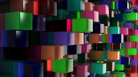 Wall of blue, green, pink and purple glass cubes. Abstract colorful 3d background. 3D render illustration Royalty Free Stock Image