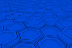Wall of blue hexagons Stock Images