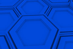 Wall of blue hexagons Stock Image