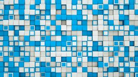 Wall of blue and white 3D cubes abstract background. Wall of blue and white cubes. Abstract background. 3D rendering Stock Photos