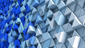 Wall of blue and white extruded triangles 3D render. Wall of blue and white extruded triangles. Abstract 3D render illustration Royalty Free Illustration