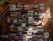 Wall of board games in a local bar royalty free stock photos