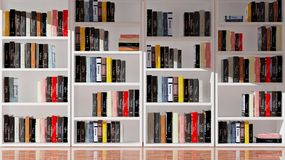 Wall bookcase full of books Royalty Free Stock Photos