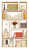Wall bookcase isolated on white Stock Photography