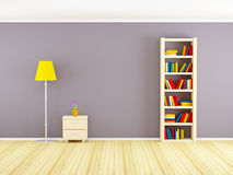 Wall with bookcase and nightstand Stock Photography