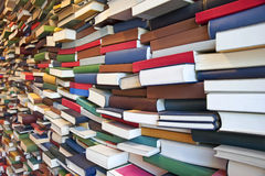 Wall of books in a library Stock Photo