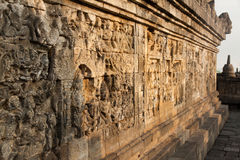 Wall at Borobudur temple in Yogyakarta, Java, Indonesia. Wall at the Borobudur temple near Yogyakarta, Java, Indonesia Stock Photos