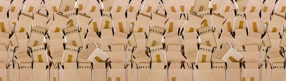 Wall of boxes background Stock Photo