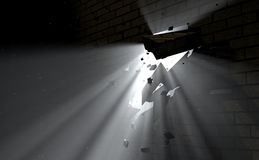 Wall Break Through And Light Royalty Free Stock Photo