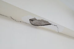 Wall breaks. Due to poor construction royalty free stock photos