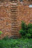 Wall of brick barn. Close-up wall of big brick barn in countryside Stock Photos