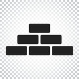 Wall brick icon in flat style on isolated background. Wall symbo Stock Images