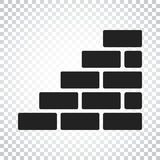 Wall brick icon in flat style on isolated background. Wall symbo Royalty Free Stock Photos