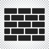 Wall brick icon in flat style on isolated background. Wall symbo Stock Image