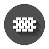 Wall brick icon in flat style. Wall symbol illustration with long shadow Royalty Free Stock Image