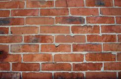 Wall of brick masonry aged. Painted street brushed grunge background texture color stock images