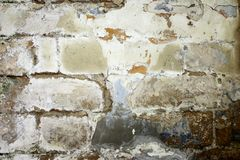 Wall of brick masonry aged. Painted street brushed grunge background texture color royalty free stock photo