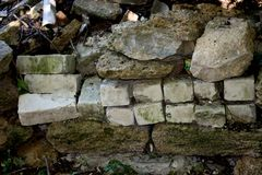 Wall of brick masonry aged. Painted street brushed grunge background texture color stock photography
