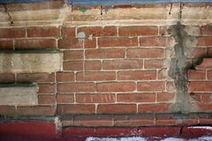 Wall of brick masonry aged. Painted street brushed grunge background texture color stock image
