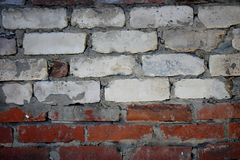 Wall of brick masonry aged. Painted street brushed grunge background texture color royalty free stock image