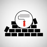 Wall brick paint roller design Royalty Free Stock Photography