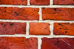 Wall of bricks. Detail of a durable wall of solid red bricks Stock Photo