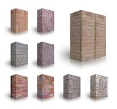 Wall bricks. Collection of Wall bricks on a white background Stock Photos