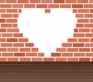 Wall of bricks and heart space background art vector Royalty Free Stock Photography