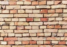 A wall of bricks in a house under construction as an abstract background stock photos