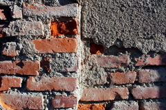 Wall of bricks and mortar. Wall of bricks close up Stock Images
